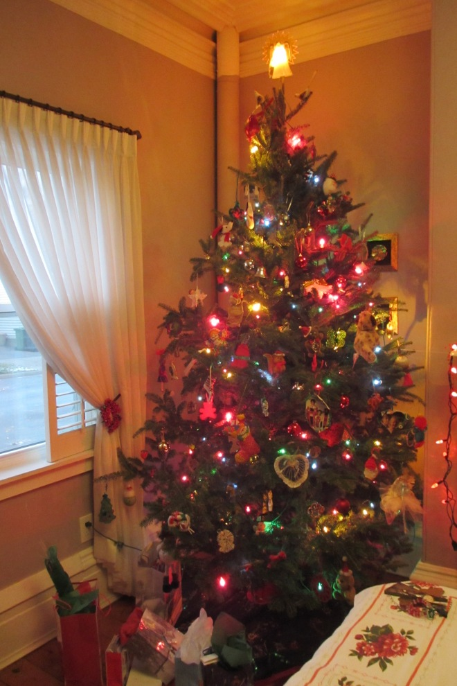 Our tree trimmed with care.